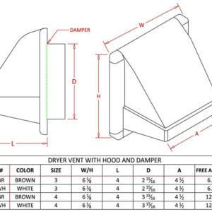 Plastic Dryer Vent with Hood and Damper-1226